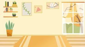 手绘暖色调温馨客厅