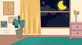手绘夜晚温馨客厅