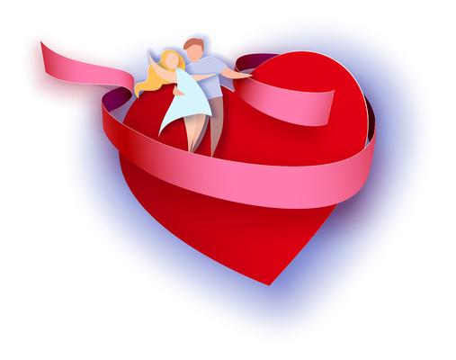 红色爱心情侣