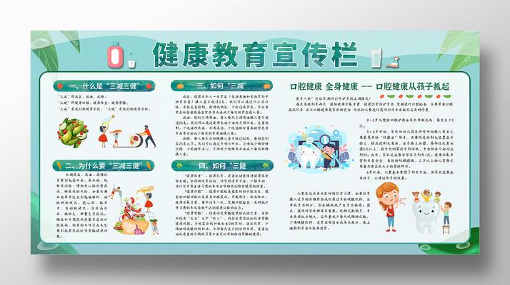 卡通简约健康教育宣传栏展板