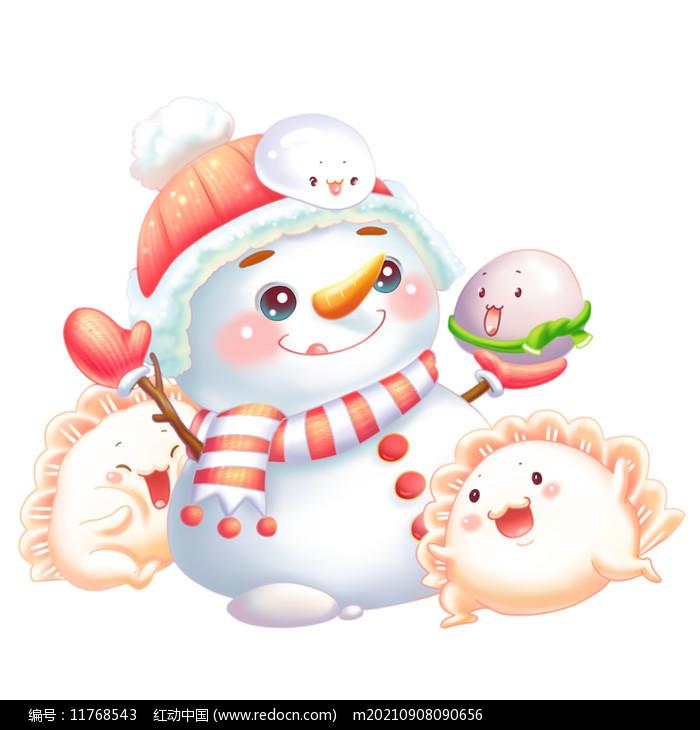 卡通立冬大雪雪人饺子元宵图片