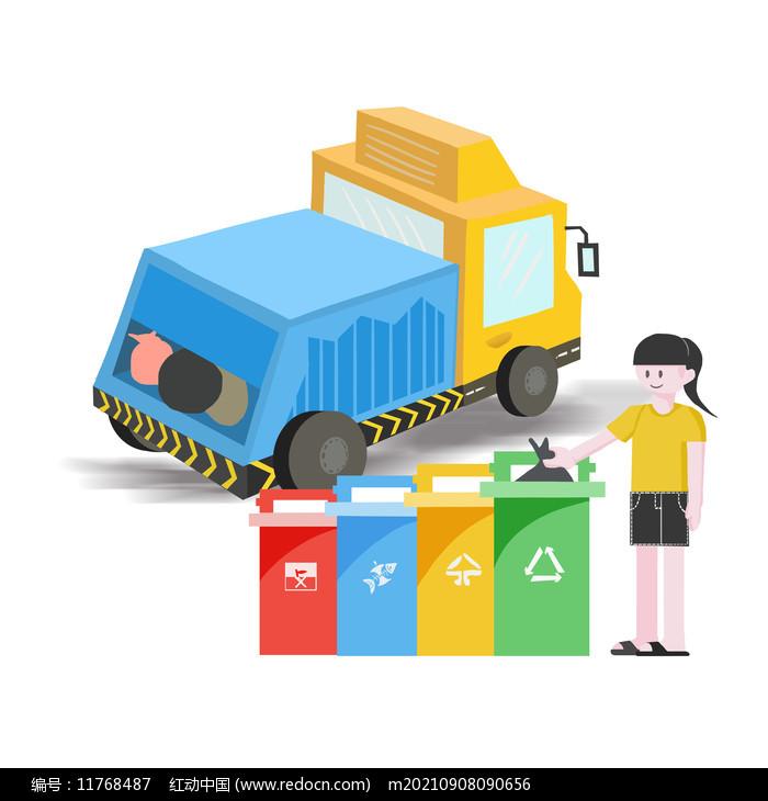垃圾车垃圾分类图片