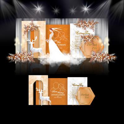 莫兰迪橙色系婚礼效果图设计婚庆舞台背景