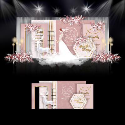 莫兰迪粉色系婚礼效果图设计婚庆舞台背景