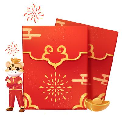 2022春节新年卡通老虎红包素材