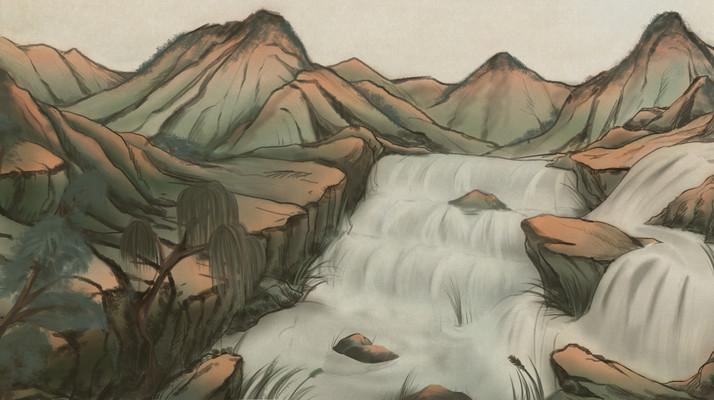 彩色石墨山水工笔画国画