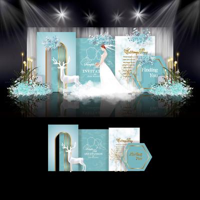 蒂芙尼蓝色婚礼效果图设计简约婚庆舞台背景