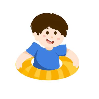 卡通手绘在游泳圈里的小男孩