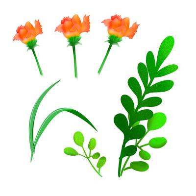 卡通手绘植物花朵叶子
