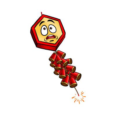 春节卡通风鞭炮元素