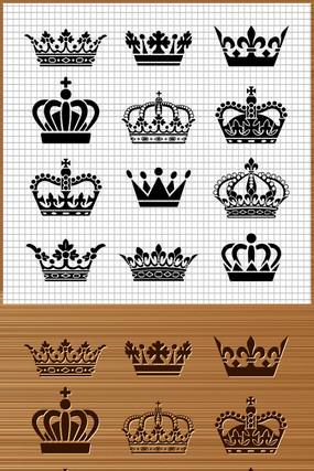 古代国王皇冠矢量雕刻图