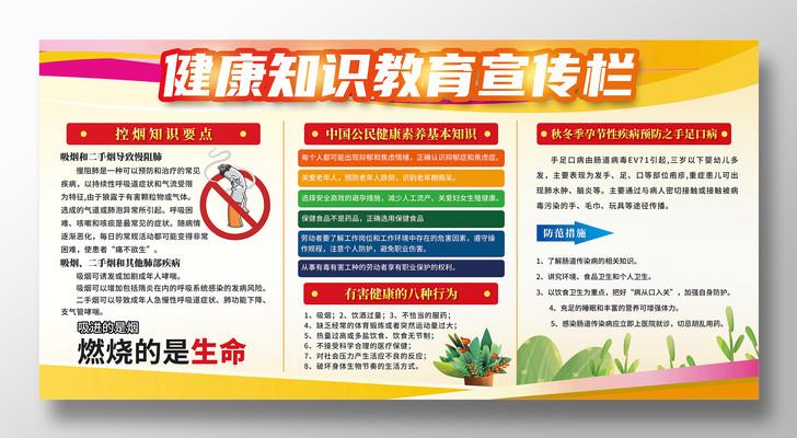简约健康知识教育宣传栏控烟预防手足口展板