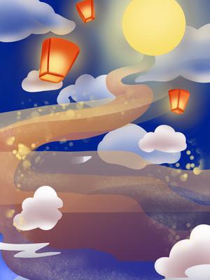 卡通手绘高清黑夜明月孔明灯竖版背景
