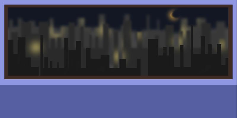 卡通手绘高清深夜卧室窗口夜景背景