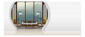 卡通现代式客厅风景图