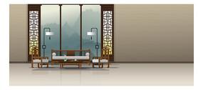 卡通中式风格屏风客厅元素