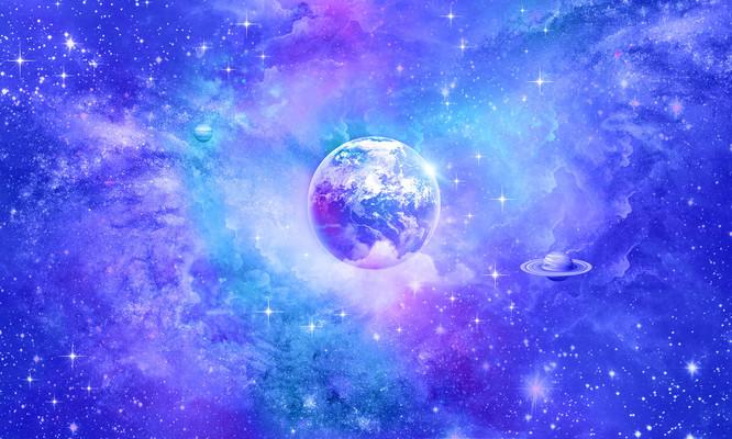 蓝紫色浪漫唯美星空银河系背景
