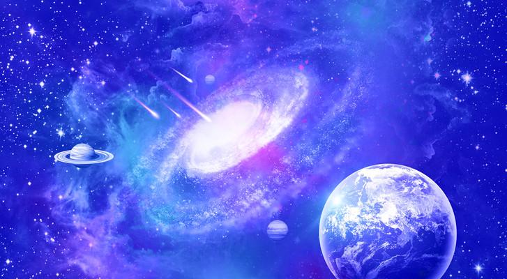 梦幻浪漫唯美蓝色星空宇宙背景