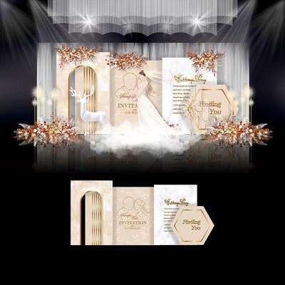 莫兰迪香槟色婚礼效果图设计婚庆舞台背景