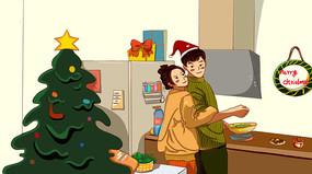 圣诞节情侣厨房