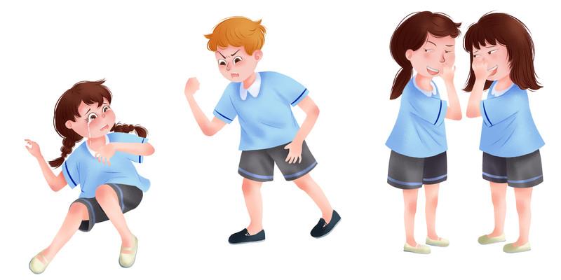 手绘卡通被欺负的小女孩校园欺凌