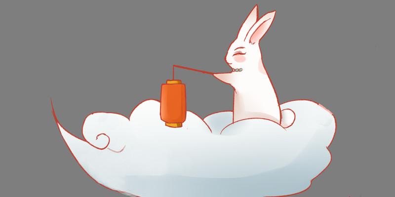 手绘卡通一只坐在云上的兔子