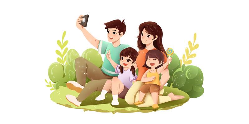 手绘卡通在野外拍照玩耍的一家人