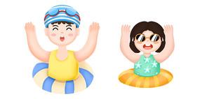 手绘卡通在游泳圈里玩耍的男孩女孩