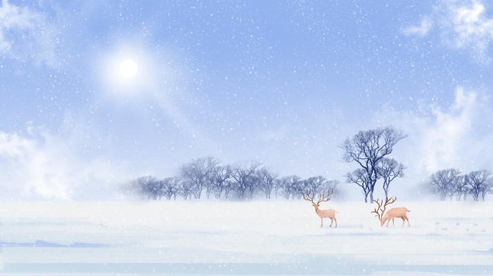 唯美冬天风景治愈系森林与鹿插画背景