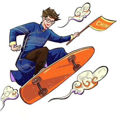 新国潮人物中山装滑滑板PNG素材