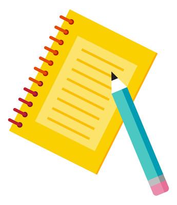 黄色本子铅笔元素