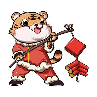 虎年新春放鞭炮元素