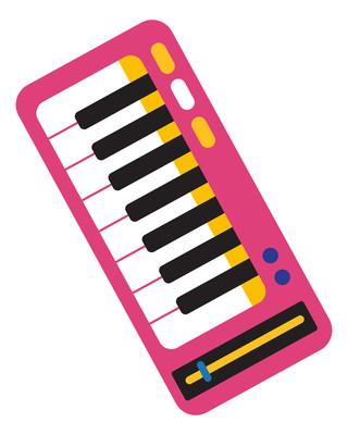 卡通电子钢琴元素