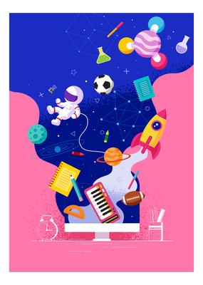 卡通太空背景海报元素