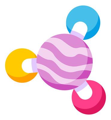 卡通条纹紫色球元素