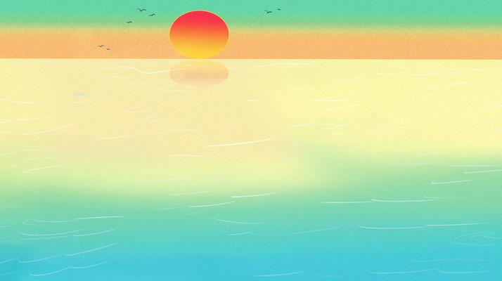 国潮海面天空山云雾纹理风景