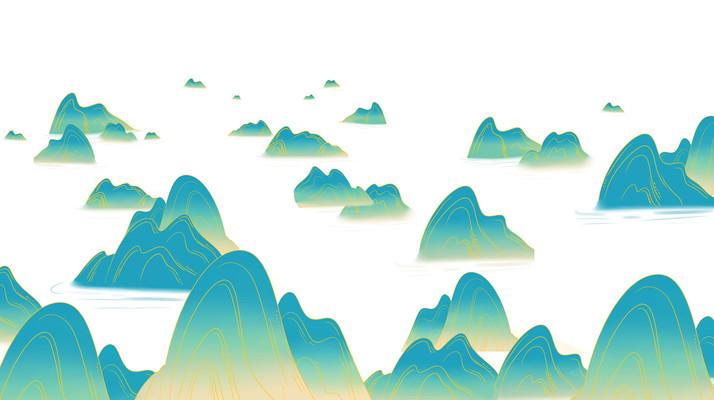 国潮群山风景