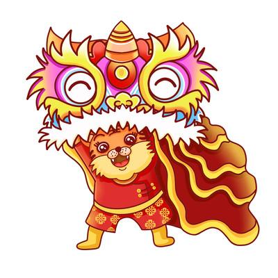 虎年新年可爱舞狮子老虎风俗习俗