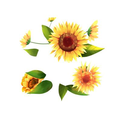 金色向日葵手绘插画元素