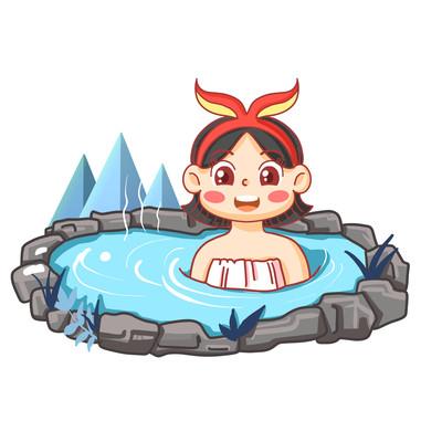 冬天雪天立冬节气可爱小姑娘温泉洗澡