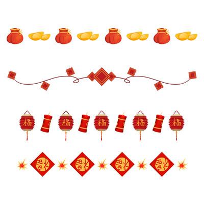 虎年春节分割线元素