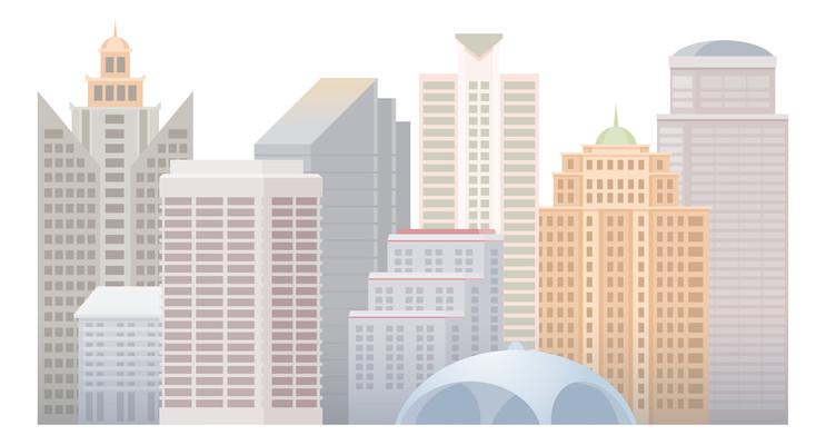 卡通城市风景图