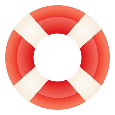 卡通红色游泳圈元素