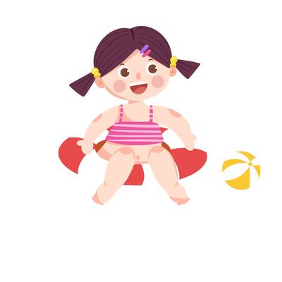 卡通小女孩游泳玩耍手绘插画元素