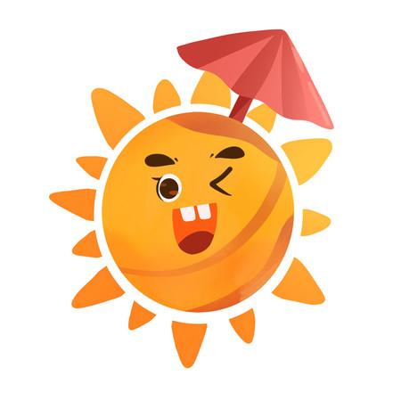 可爱大太阳打着太阳伞