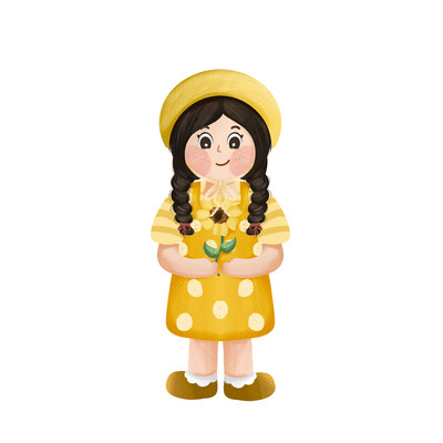 可爱小女孩和向日葵