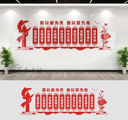 食堂文化墙宣传展板设计