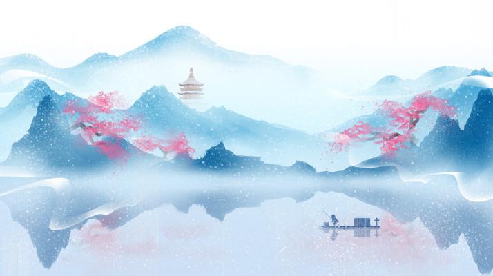 水墨冬天中国风山水墨画插画背景