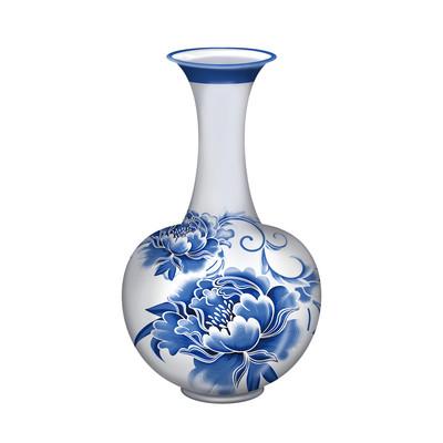 天鹅颈陶瓷瓷器青花瓷