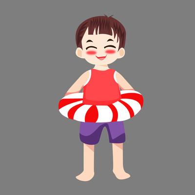 小男孩要游泳